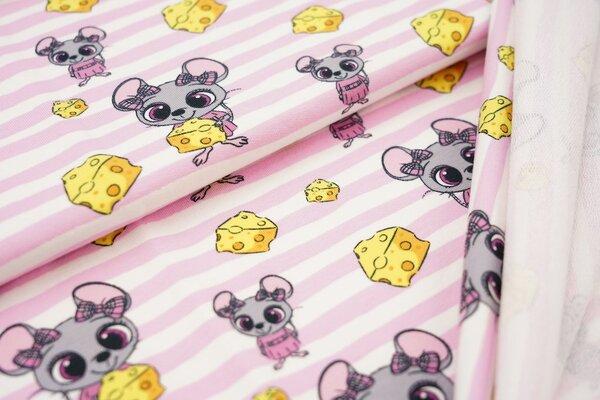 Baumwoll-Sweat Mäuse mit Käse auf Streifen rosa / weiß Maus Ringel