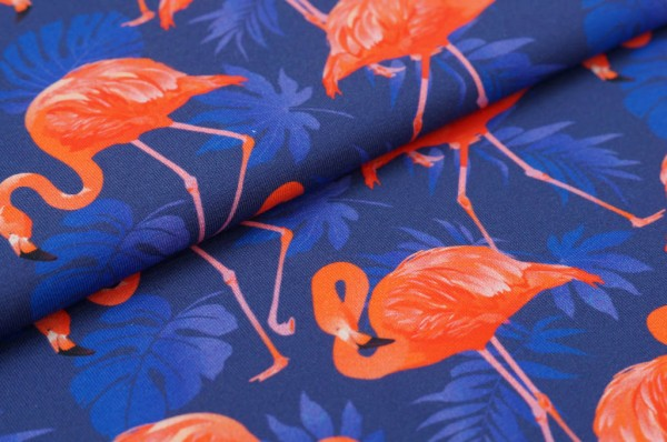 Baumwoll-Jersey Digitaldruck Flamingos Blumen Palmen koralle orange lila blau