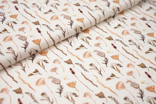 Digitaldruck Baumwoll-Jersey Aquarell mit Pflanzen Blumen in orange grün braun auf off white creme
