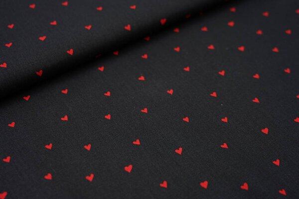 Baumwollstoff rote Herzen auf schwarz