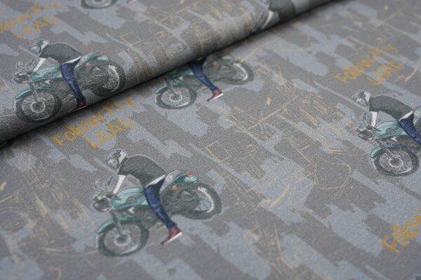 Kuscheliger Baumwoll-Sweat Motorradfahrer und Schriftzug auf grau