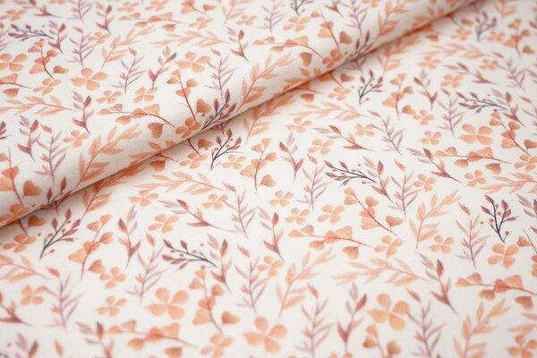 Digitaldruck Baumwoll-Jersey Aquarell Pflanzen Blätter off white orange apricot bordeaux