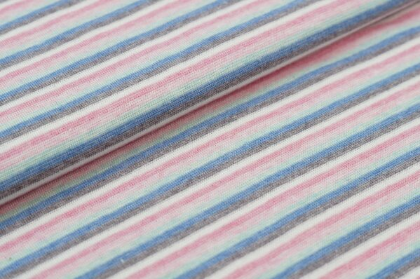 Ringelbündchen pastell Farben Melange kleine bunte Streifen