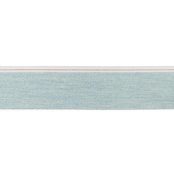 Breites Jeans Gummiband hellblau meliert mit weißem / rotem Rand