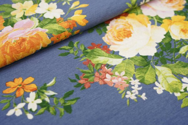 Dekostoff Canvas mit großen Rosen Blumen auf taupe blau