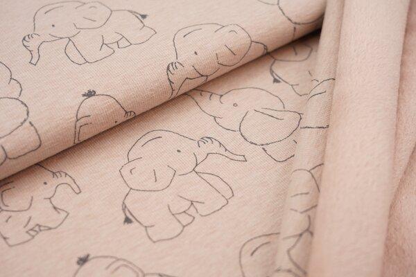 Kuscheliger Happy Fleece Alpenfleece Elefanten auf hellem altrosa meliert melange Kuschelsweat