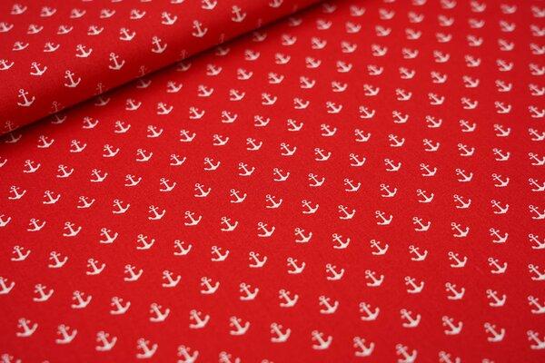 Baumwolle maritim kleine weiße Anker auf rot