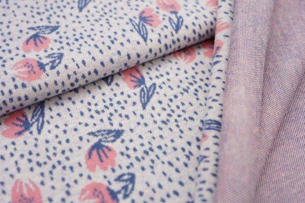 Jacquard-Jersey kleine Blumen / Punkte off white / taupe blau / koralle