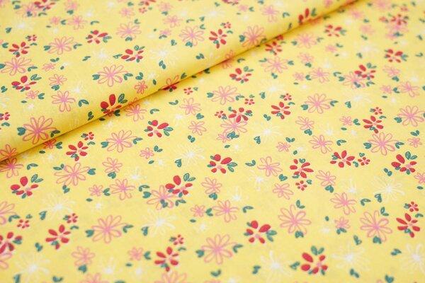 Baumwollstoff Baumwolle Blüten Blumen Blätter auf gelb