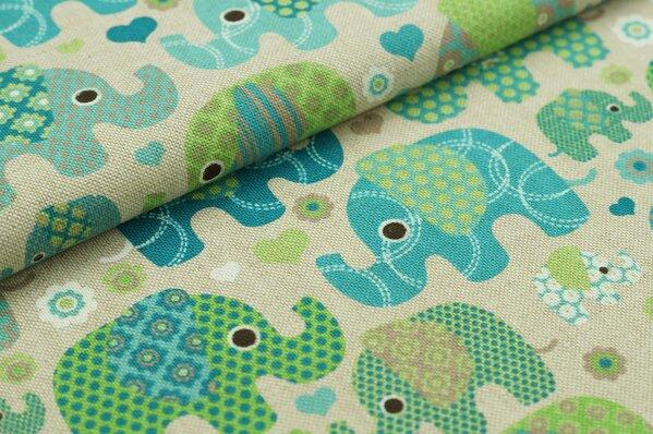 Dekostoff Leinenoptik Elefanten natur grün