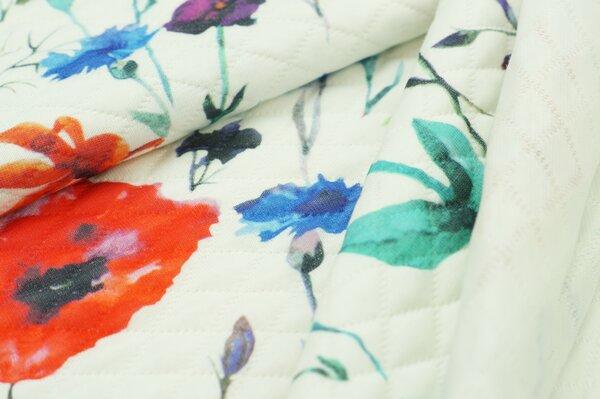 Stepp-Stoff Digitaldruck bunte Blumen auf off white Steppsweat