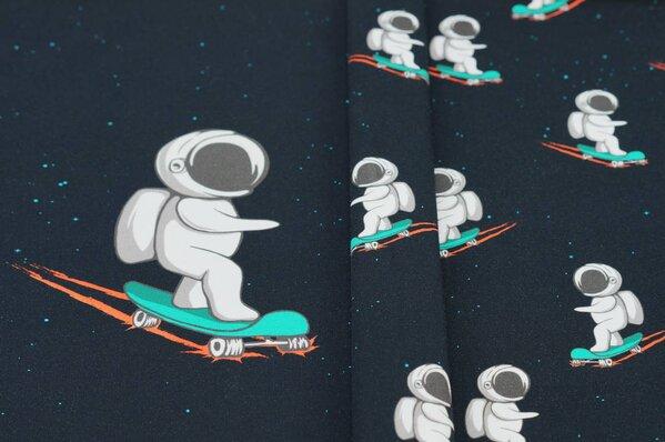 Panel Baumwoll-Jersey Astronaut Weltall Skateboard auf schwarz Digitaldruck