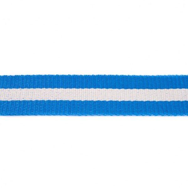Breites Gurtband mit Streifen kobald blau / weiß 40 mm