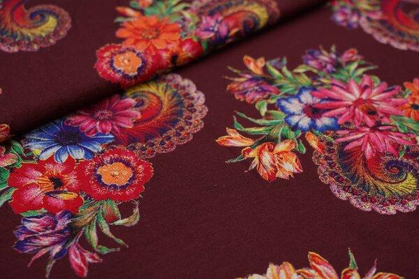 Viskose-Jersey bunte Blumen auf weinrot