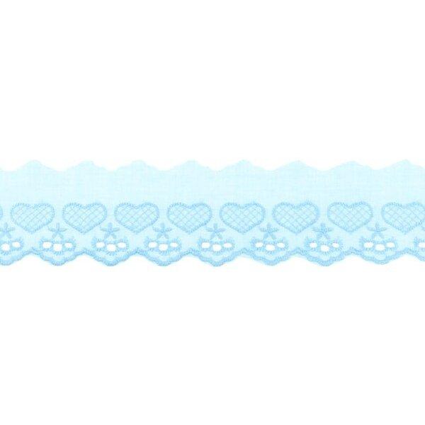 Baumwoll Spitze mit Herzen und Sternen hellblau Spitzenbordüre Borte