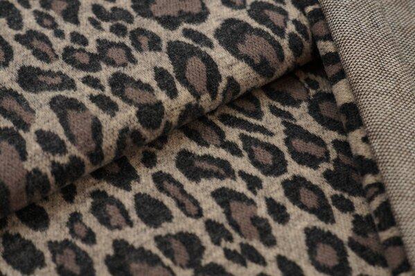 Kuschel Jacquard-Sweat Max Leoparden Design taupe braun beige sehr dunkelgrau