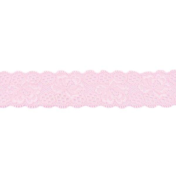 Spitzenborte Zierband elastische Spitze mit Rüschen Blumen uni hellrosa 35 mm