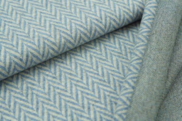 Kuschel Jacquard-Sweat Max XXL Fischgrätmuster pastell jeansblau / grau Melange