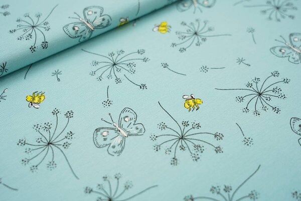 Baumwoll-Jersey Schmetterlinge Pusteblumen Bienen auf eisblau