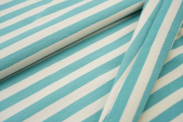 Traumbeere XXL Baumwoll-Sweat Marie Streifen Ringel mittel eisblau und off white