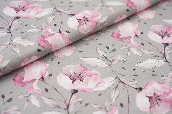 Digitaldruck Baumwoll-Jersey große Blumen grau / rosa
