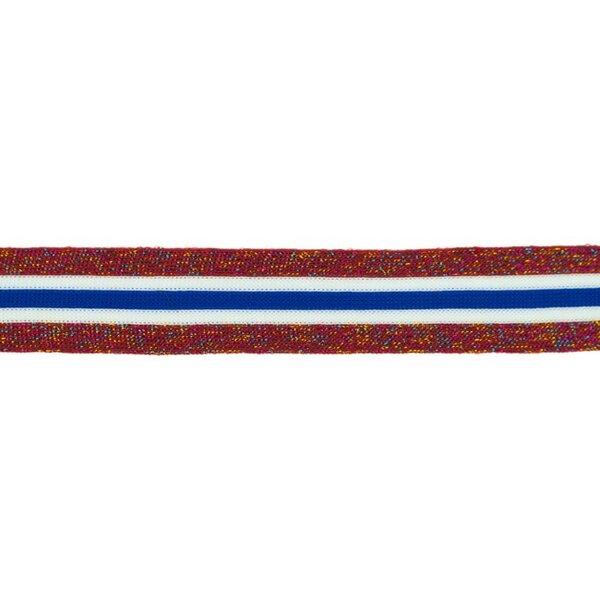 Elastisches Zierband mit Streifen und Glitzer rot blau weiß bunt 30 mm