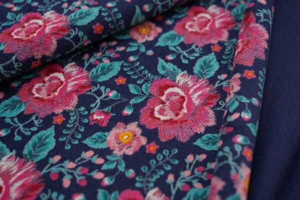 Nicki Velours Stoff große Blumen Rosen dunkelblau pink lachs türkis petrol