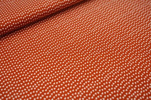 Baumwollstoff kleine weiße Dreiecke auf rostorange