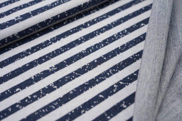 Jacquard-Jersey Streifen / Ringel off white / navy blau meliert maritim