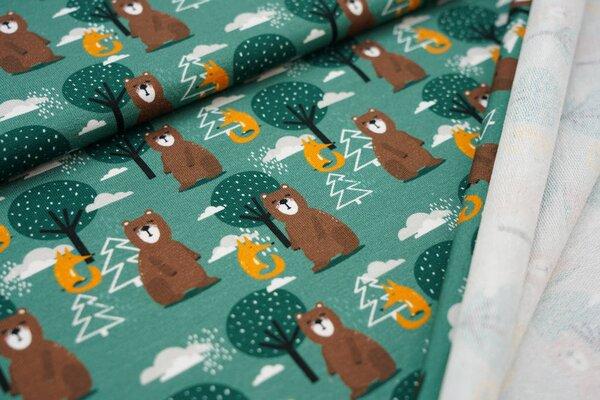 Baumwoll-Sweat Bär und Fuchs im Wald auf grün Bäume Füchse Wolken