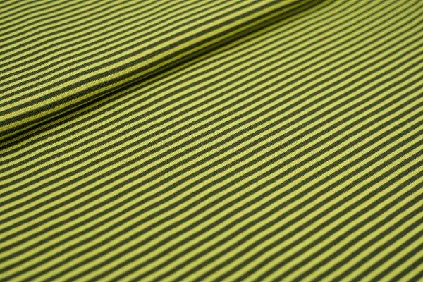 Ringelbündchen glatt kleine Streifen dunkel khaki / limettengrün