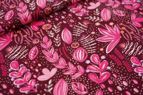 Baumwoll-Jersey Pflanzen im Wildgarten Blumen bordeaux rot / pink / rosa