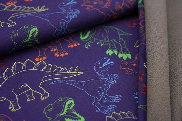 Softshell-Stoff Swafing Fiete bunte Dinosaurier auf dunkelblau / graue Innenseite