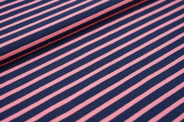 XXL Baumwoll-Jersey Streifen Ringel dunkelblau / koralle