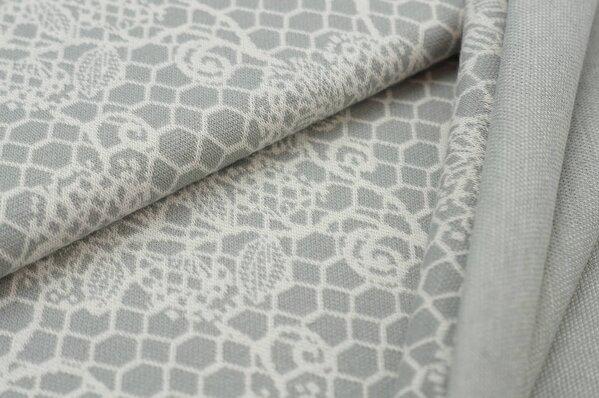 Jacquard-Sweat Ben off white Blumen Muster auf hellgrau