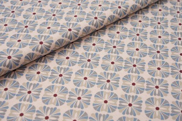 Baumwolle Retro Muster hell altrosa / jeansblau / grau / bordeaux rot