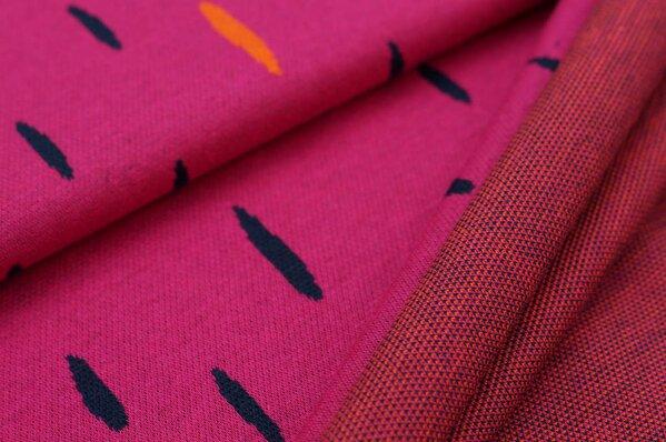 Jacquard-Sweat Ben orange und navy blaue ovale Tropfen auf amarant pink