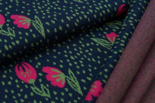 Jacquard-Jersey kleine Blumen / Punkte navy blau / grün / amarant pink