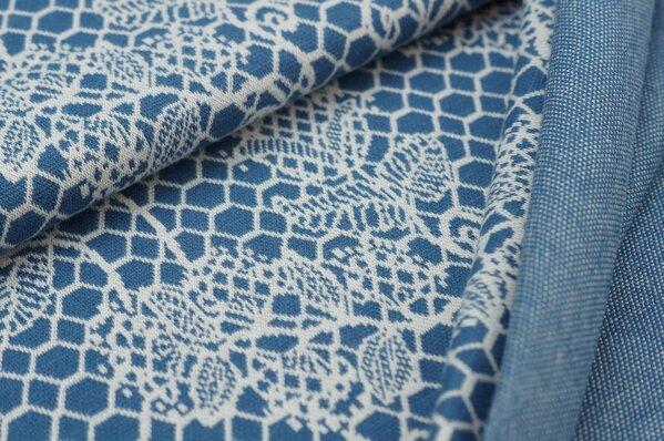 Jacquard-Sweat Ben off white Blumen Muster auf taupe blau