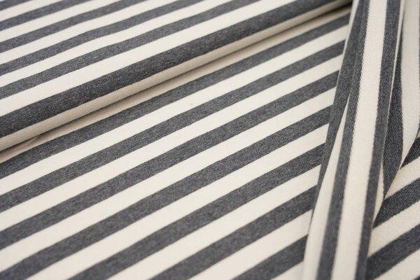 XXL Baumwollsweat Maya Melange Streifen breit dunkelgrau melange und off white