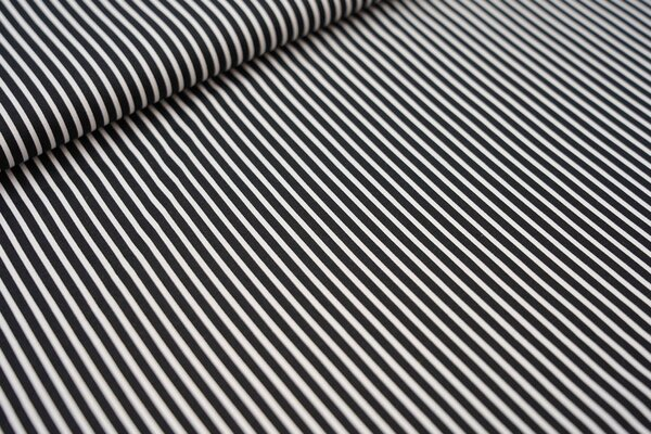 Baumwollstoff schmale Streifen schwarz / weiß Baumwolle