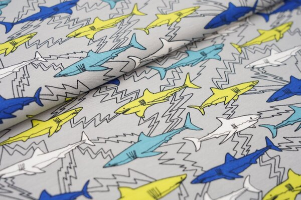 Baumwoll-Jersey bunte Haie und Elektroblitze auf grau