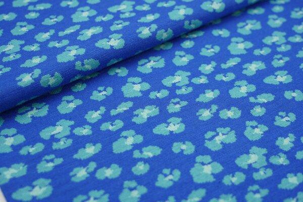 Jacquard Bündchen glatt Schlauchware Leoparden Muster royalblau / eisblau