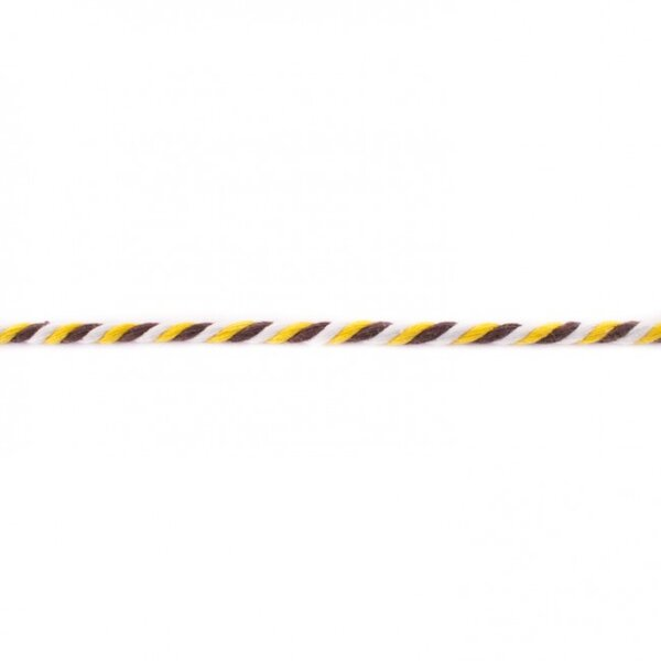 Gedrehte Baumwoll-Kordel rund dreifarbig gelb / braun / weiß 6 mm breit