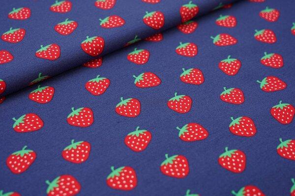 Baumwoll-Jerseystoff mit Erdbeeren auf dunkel taupe blau
