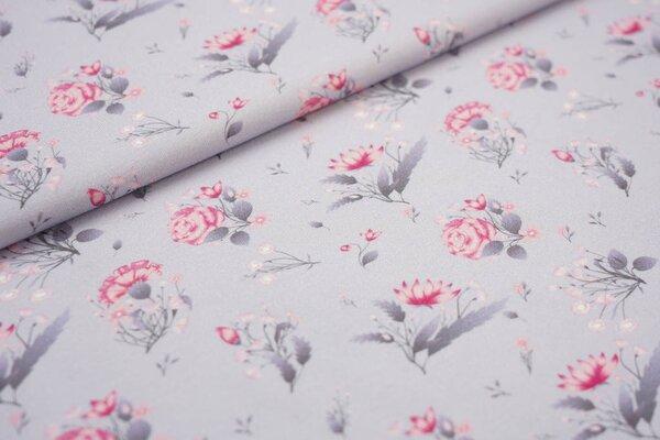 Baumwoll-Jersey Digitaldruck Rosen Blumen Blätter grau / rosa