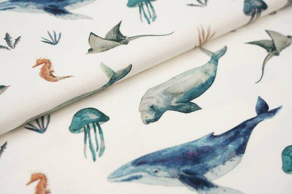 Digitaldruck Baumwoll-Jersey Aquarell Meerestiere Wal Rochen cremeweiß / blau