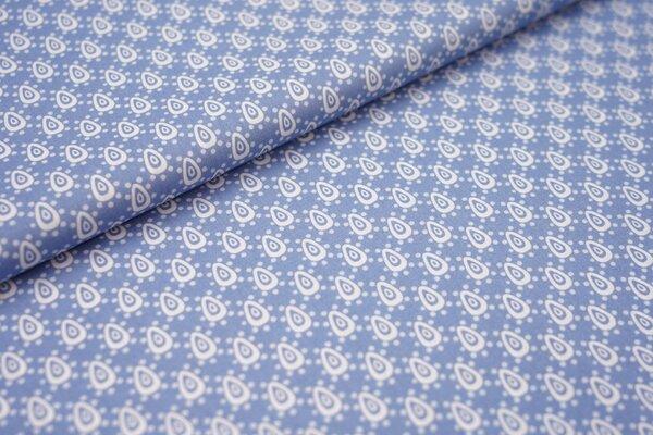 Baumwollstoff mit Retro Tropfen Muster rauchblau / weiß