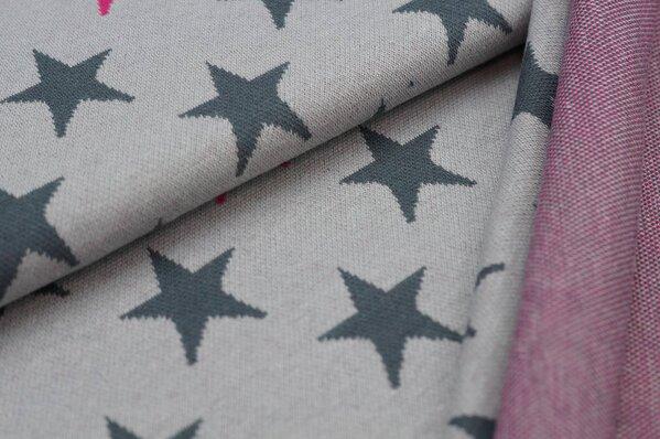 Jacquard-Sweat Ben dunkelgraue und amarant pinke Sterne auf hellgrau