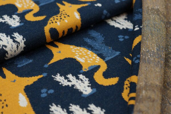 Jacquard-Sweat Ben Fuchs und Kaktus navy blau senf taupe blau off white
